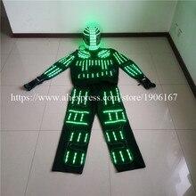 Rgb led костюм LED Костюмы EL провода Костюмы LED Робот костюмы Дэвид с дистанционным управлением