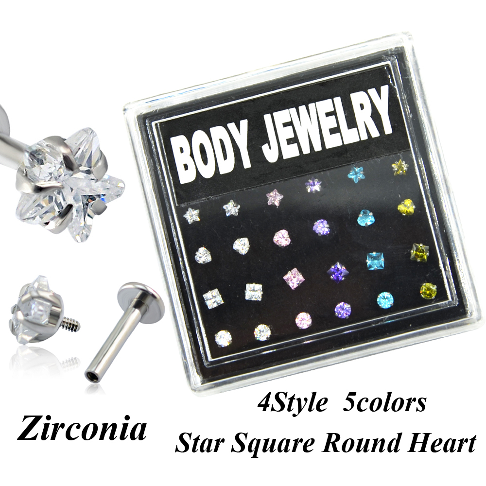 24pieces Box Set Internally Threaded Zircon Gem Crystal Lip Piercing Ring Labret Stud Jewelry Ear Tragus Helix Cartilage 16g