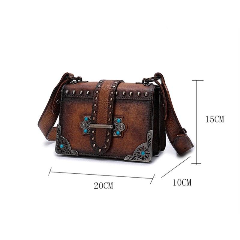2018 Vintage Rivet Women Small Bag Shoulder Strap Square Crossbody Bags More Compartment Fashion Wild Messenger Leather Female