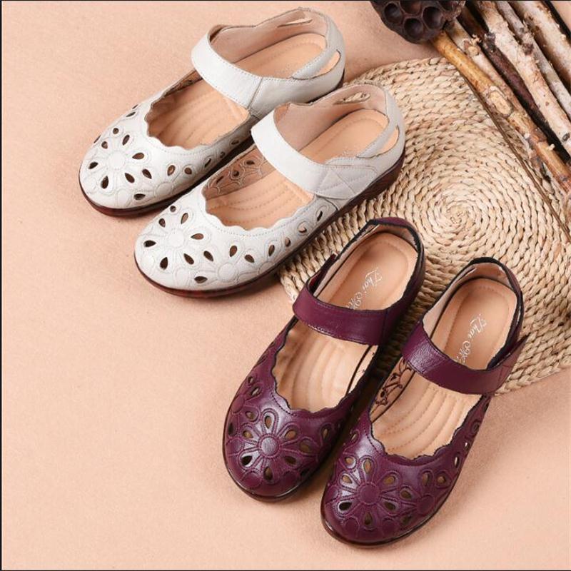 amarillo White negro Rice Genuino Sandalias Pisos Cuero De Hechas Transpirables púrpura Mano Vintage 2019 Nuevo Bordado A Zapatos Comodidad Mujer gaqHnZ