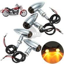цена на 4pcs Chrome Motorcycle Bullet Turn Signal Light Indicator Amber Blinker 10mm Fit For Harley Choppers Metric Bobber Cruiser Honda