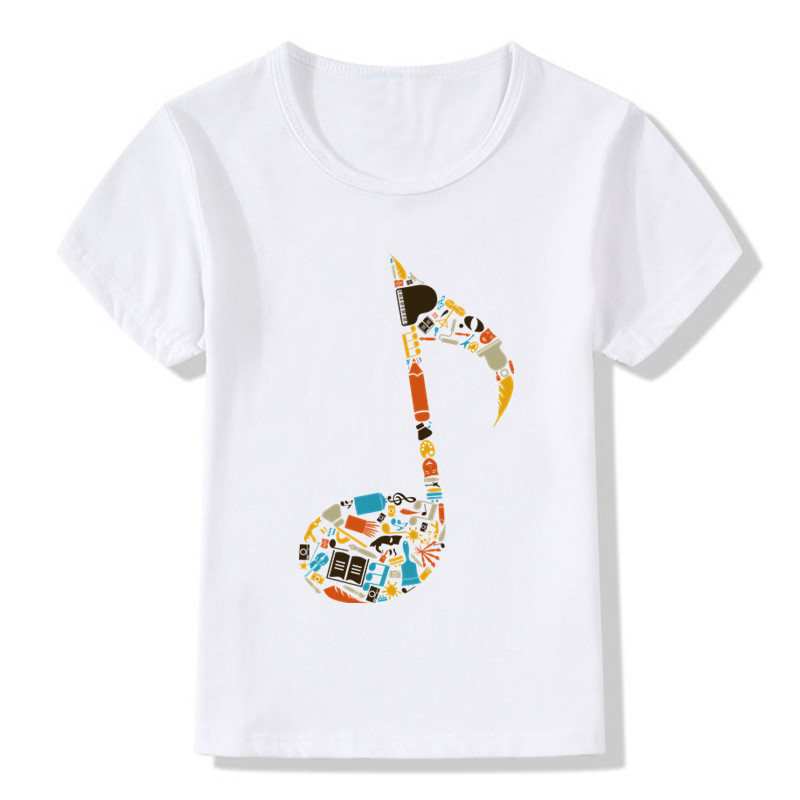 2019 Children Music Note Print Funny T-shirt Kids Summer Tops Girls Boys Short Sleeve T Shirt Baby Casual Clothes,ooo141