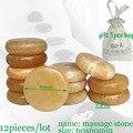 wholesale 12pcs/lot 6x6cm yellow jade massage body stone gift bag