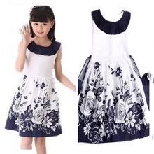 Girls Summer Dress Princess Floral Casual Dress 2016 Kids Dresses for Girls 8 10 11 12 Year Children's Clothing
