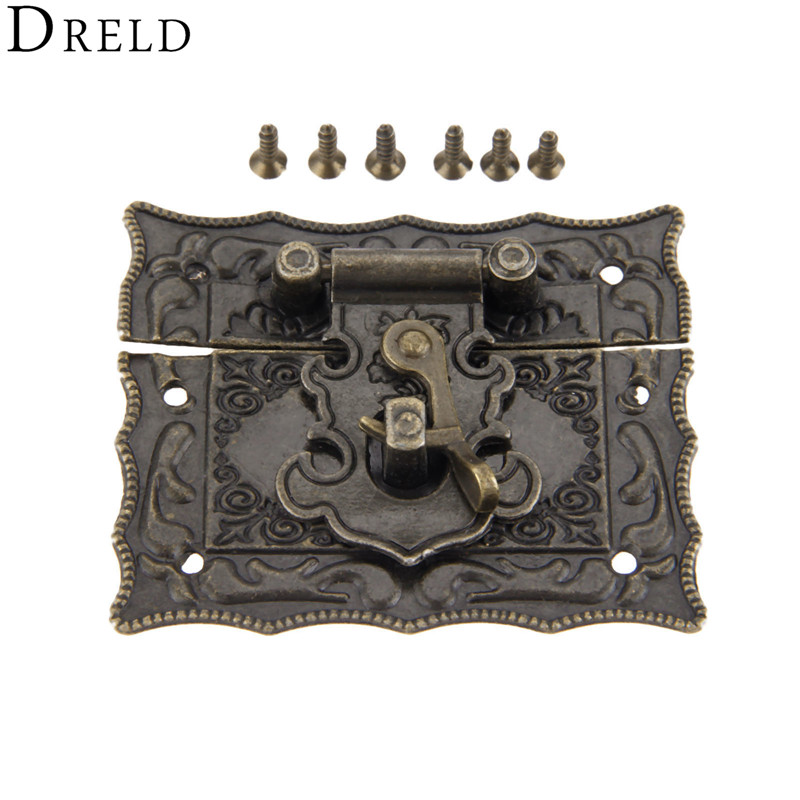 DRELD 51*43mm Antique Box Latch Clasps Decorative Buckle Jewelry Gift Wood Box Hasp Latch Hook With Screws Alloy Vintage Bronze