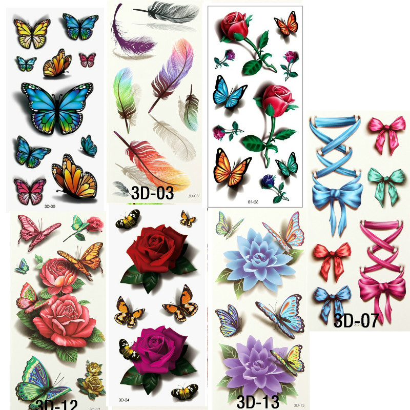 7PCS Beautiful Cute Water Transfer Tattoos Body Art Makeup Cool 3D Waterproof Temporary Tattoo Stickers For Girls Man Tatouage 9