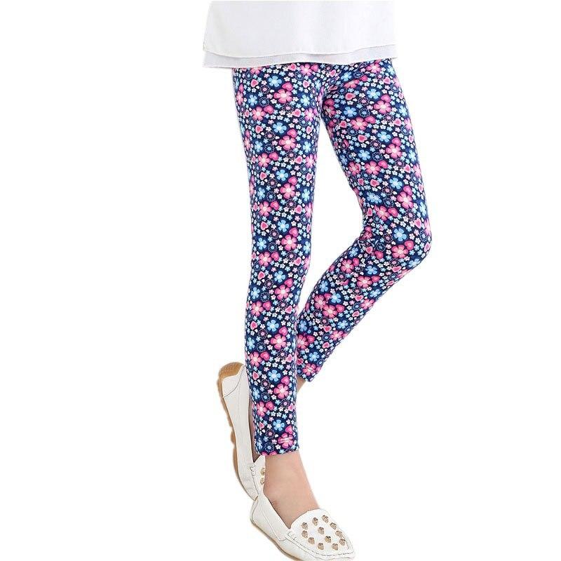 Леггинсы для маленьких девочек, штаны эластичные длинные брюки с цветочным принтом Леггинсы для девочек 2-14 лет