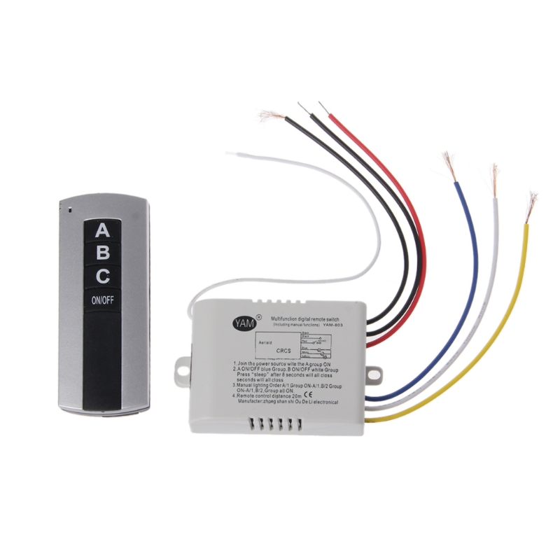 Wireless 3 Channel ON/OFF Lamp Remote Control Switch Receiver Transmitter 1ch abs wireless on off 3 way 220v lamp remote control switch receiver transmitter 315mhz