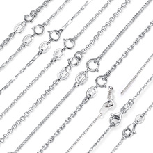 BAMOER Classic Basic Chain 100 925 Sterling Silver Lobster Clasp Adjustable Necklace Chain Fashion Jewelry SCA009-45 cheap Necklaces Link Chain Chains Necklaces Metal Stava Women Lock All Compatible Only one free velvet jewelry bag for each parcel