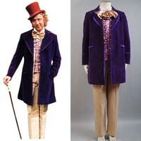 Вилли Вонка и шоколадная фабрика 1971 Косплэй костюм пальто + жилет + галстук бабочка