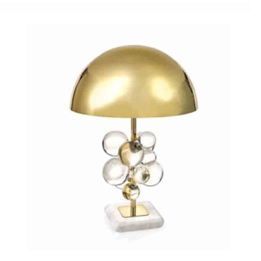 Postmodern Creative Luxury Plate Gold Metal Table Lamp Deco Crystal Balls Led Table Light Marble Base Desk Lamp Bedsides Lamp