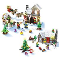 Christmas Village Santa Claus Wooden Horse Funny Building Blocks Figure Best Gift Education Present Toys For