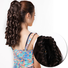 Gres Curly Women Clip-in Ponytail High Temperature Fiber Burgundy Color Hairpieces with Hairpins Synthetic Hair Extension [delice] 16 inches women s high temperature fiber synthetic hair curly ponytail piano color 90g piece