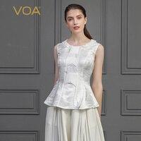 VOA шелк жаккард Белый Топы Для женщин Rococo милые женские Топы Тонкий Туника Европейский Стиль рукавов оборками футболка одноцветное B776
