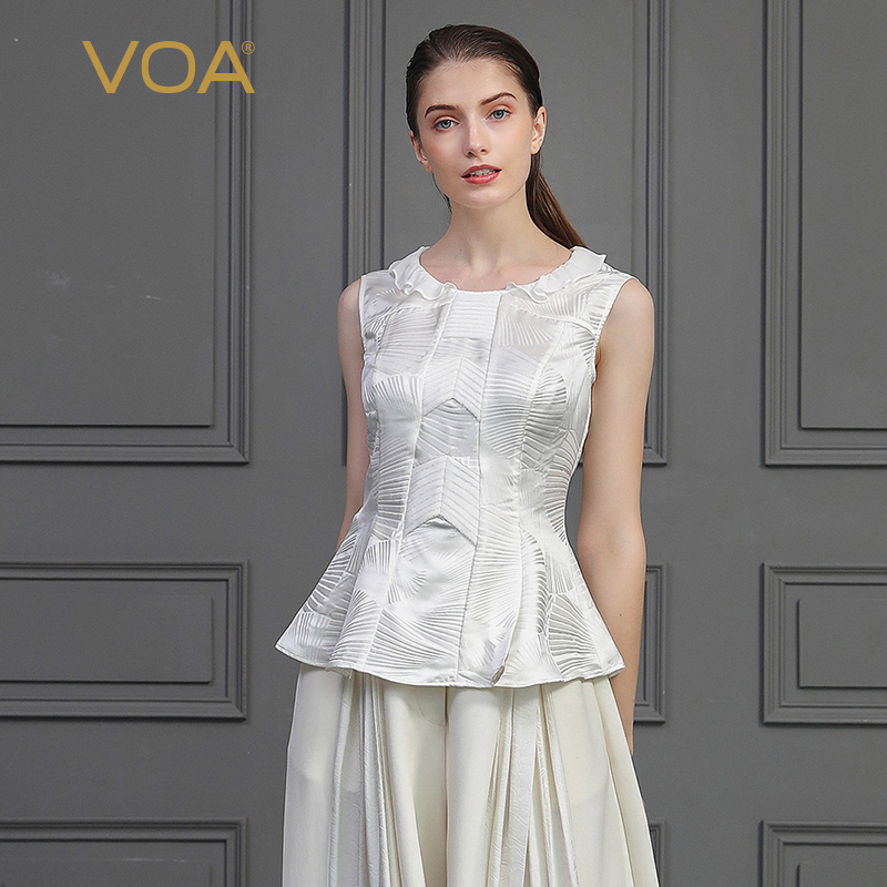 VOA soie Jacquard blanc réservoir hauts femmes Rococo doux dames hauts Slim tunique Style européen sans manches volants Tee Basic B776