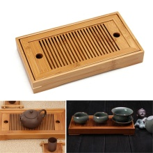 Small Bamboo Kongfu Tea Table Serving Tray Chinese Wooden Tea Tray 24x13cm Tea Set Water Storage Traditional Teaware Home Gift