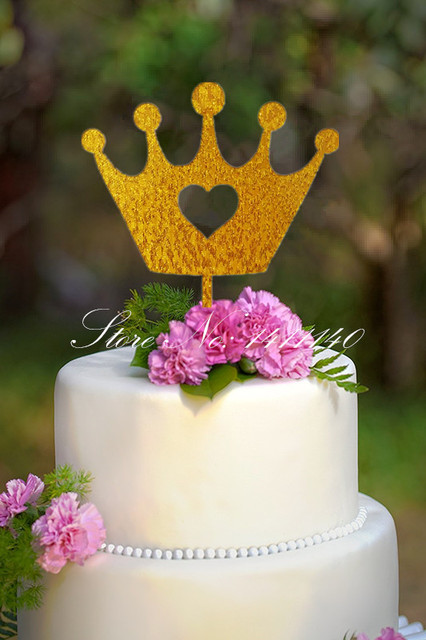 Glitter Gold Crown Princess Cake Topper Baby Birthday Cake Topper