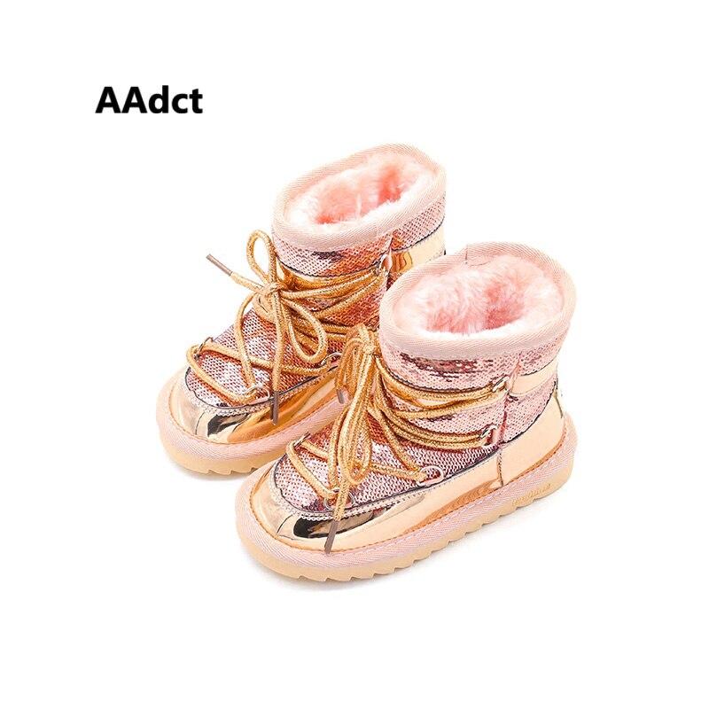 AAdct/зимние меховые теплые ботинки для девушек; модные новые зимние детские ботинки принцессы для девочек; хлопковая детская обувь с блестка