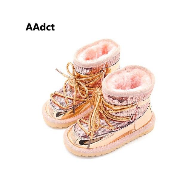 Aadct冬毛皮暖かい女の子ブーツファッション王女新雪のためのスパンコール綿子供靴ブランド2019