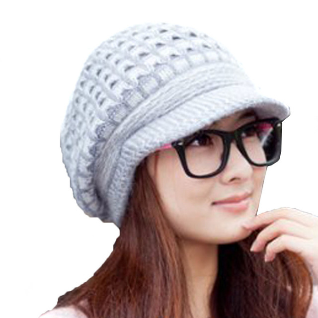 Fashion Women Girl Slouchy Cut Openings Fluffy Knit Beanie Crochet Rib Hat  Brim Cap Winter Warm Elegant Ladies Caps 3372953047c5