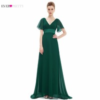 Elegant Ever Pretty Mother Of The Bride Dresses EP09890 Double V Neck Cap Sleeves Long Mother