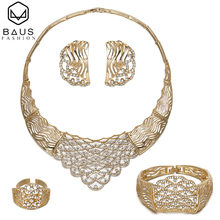 Dubai gold jewelry sets for women crystal big necklace bridal wedding jewelry set Italian ethiopian set Party Accessories Design(China)