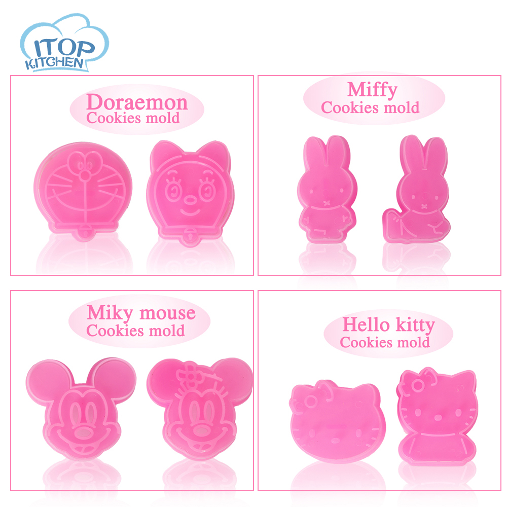 ITOP 4pcs/lot Cookie Cutter Lovely DIY Gift Animal Mickey Doraemon Hellokitty Shape Decorating Mold