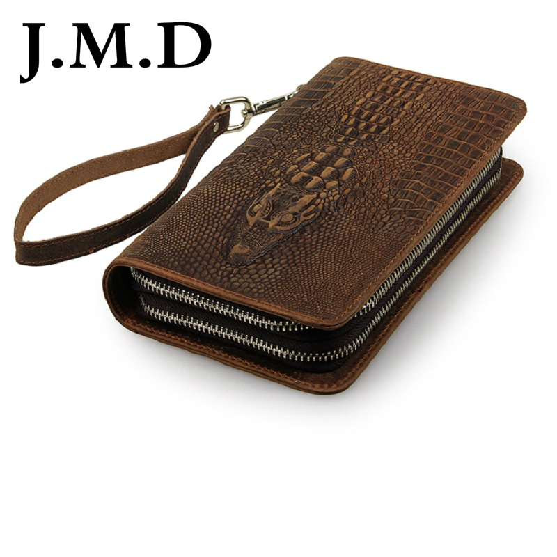 J.M.D 2017 New Arrival 100% Classic Leather Alligator Pattern Crazy Horse Leather Men's Brown Wallet Clutch Bag Checkbook 8070 247 classic leather