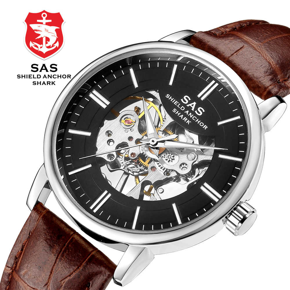 New Punk Luxury Business Mechanical Watch Men's Fashion Skeleton Watch Leather hombre Watches Luminous Masculino Relogio