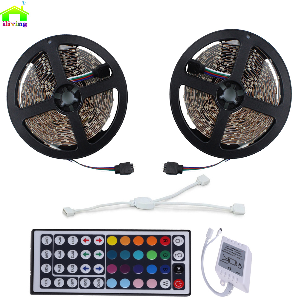 10M 5050 RGB LED Strip IP65 2x5m SMD lighting Light +44 key IR Remote Controller No Power Adapter Changeable Color Diode Tape