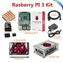 Raspberry Pi 3 Модель B доска + 3.5 TFT LCD + 8 ГБ TF карты + 2.5A питания (ЕС или США) + акриловый чехол + радиаторы + HDMI кабель