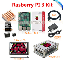 Wholesale prices Raspberry Pi3 Pi 3 Model B Board+ 3.5 TFT LCD+8GB TF Card +2.5A Power Supply (EU OR US)+Acrylic Case+ Heatsinks+HDMI Cable