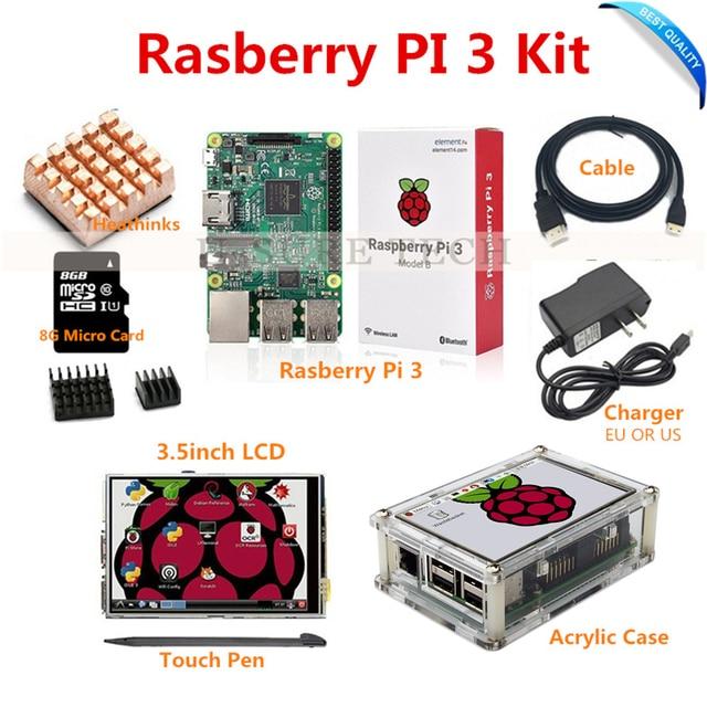Raspberry Pi3 Pi 3 Model B Board+ 3.5 TFT LCD+8GB TF Card +2.5A Power Supply (EU OR US)+Acrylic Case+ Heatsinks+HDMI Cable