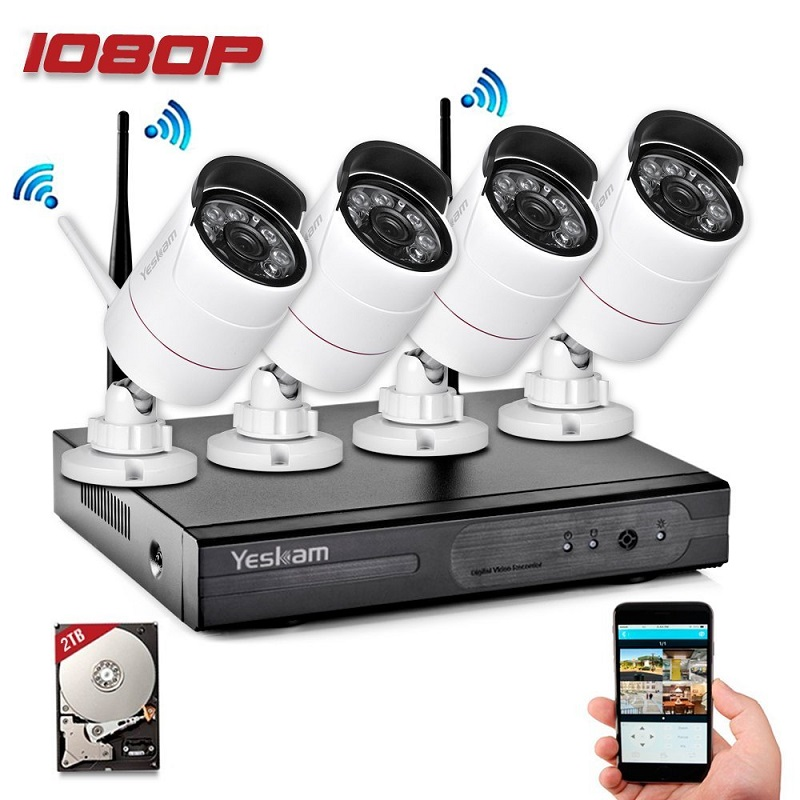 Yeskamo home Security wifi ip camera cctv kit alarm monitoring secury systems and 4 Channel NVR DVR Recorder With 2TB Hard Disk digital wireless security kit four channel available monitoring