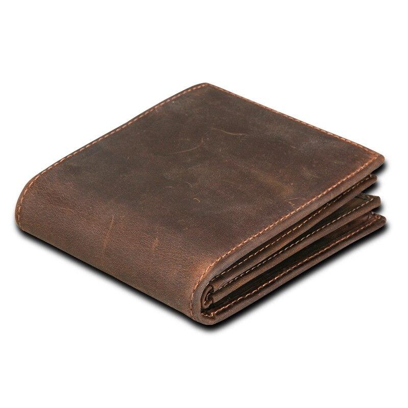 RFID bloqueo hombres carteras Vintage vaca cuero genuino cartera hombre hecho a mano personalizado precio moneda monedero corto billetera carteira