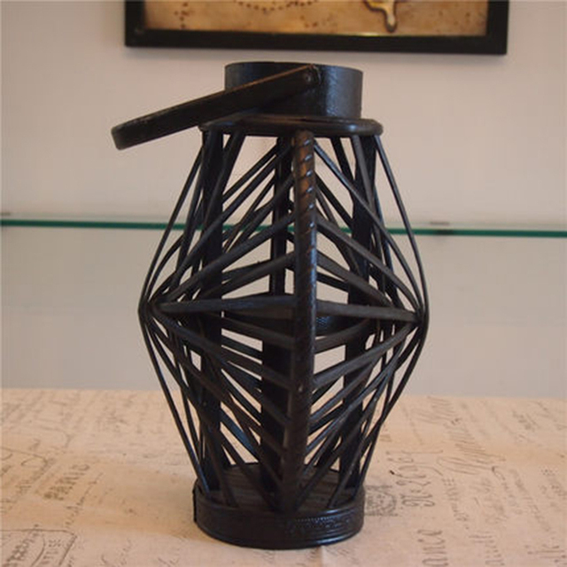 Decorative Cage Lanterns Candlestick Wooden Creative Christmas Candle Holder Vintage Retro Table Candelabra Home Decoration 5