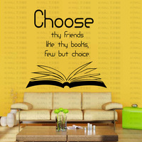 Choose Friends Inspiration Quote Books Pattern Wall Sticker Wall Mural Home Decor study Room wall poster