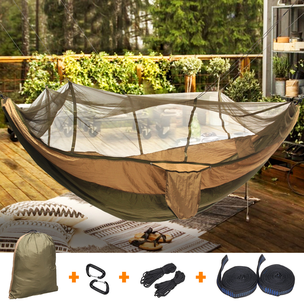 260x140cm Anti-mosquito Portable Outdoor Hammock Camping Hanging Sleeping Bed With Mosquito Net Garden Swing Relaxing Hammock