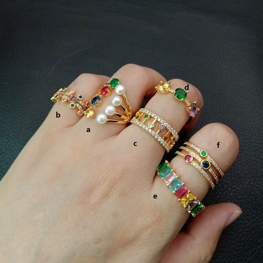 Glod filled women finger rainbow cz paved band rings cubic zirconia cz RING