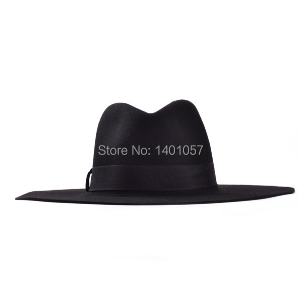 7808583a5e2 new style 1 PCS wide brim winter black floppy hat floppy trilby for men  church hats cap masculino 100% fleece panama bowler on Aliexpress.com