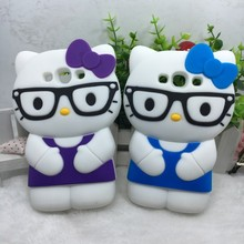3D Cute Cartoon Hello kitty Glasses Silicone Soft Back Cover Phone Cases For Samsung Galaxy S3 i9300 S3neo S3 neo I9301
