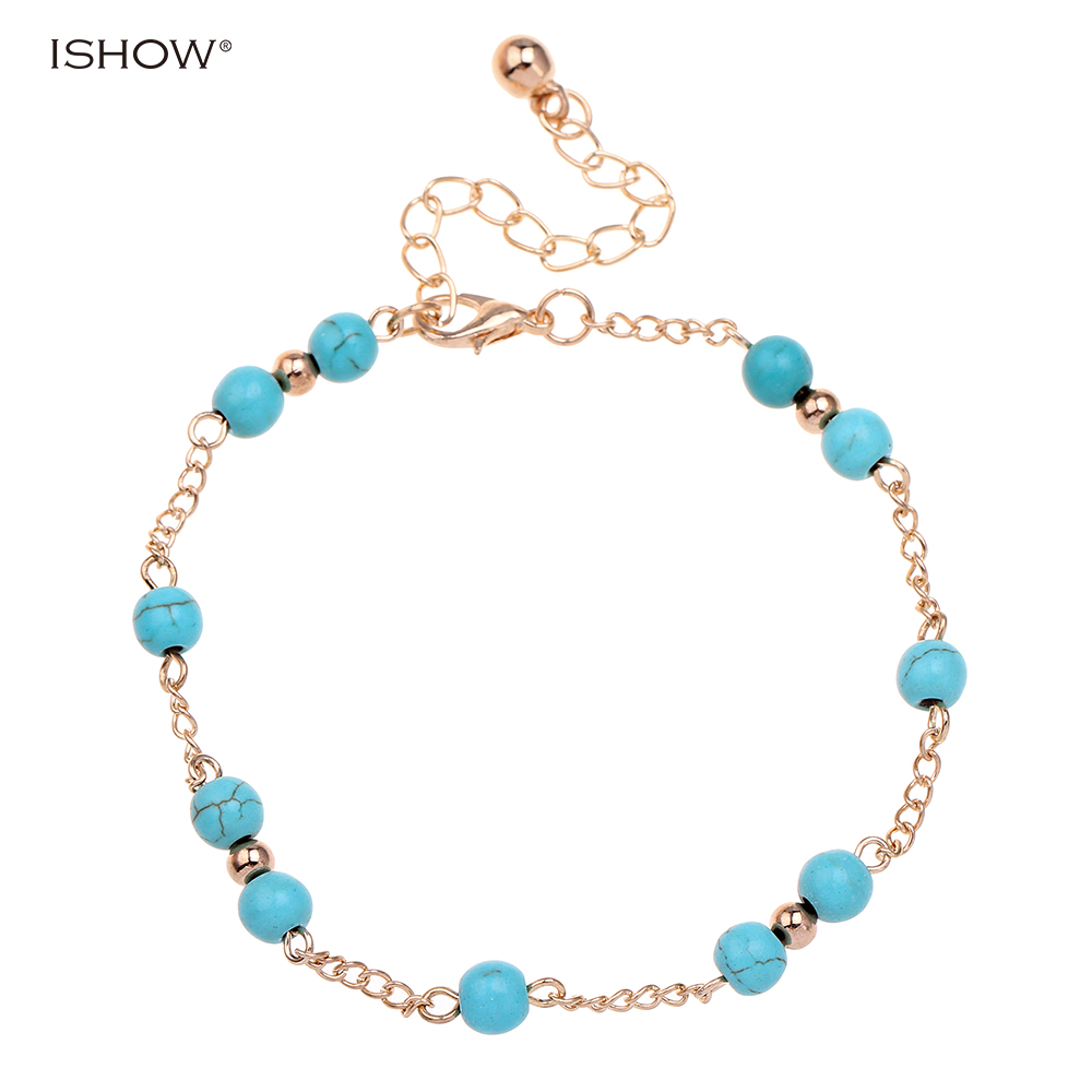 New glass beads anklets jewelry gold and silver plated ankle chain foot jewelry pulsera tobillo hot Pentagon anklets for women