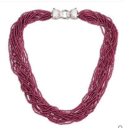 925 argent violet rouge grenat collier femmes Europe et amérique cadeau accessoires chaîne en os de chaîne