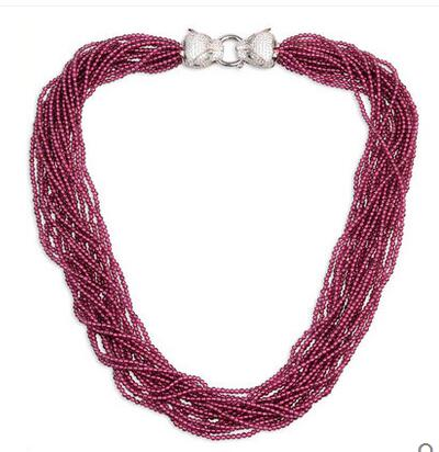 925 Silver Purple Red Garnet Necklace Women's Europe and America Gift Accessories Chainbone Chain mydear latest design hot sale fashion europe and america big chain necklace silver leaf animal pendants necklace for women