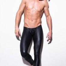 Мода, мужские черные штаны из искусственной кожи для выступлений на сцене, обтягивающие брюки-карандаш, леггинсы для мужчин, сексуальное боди, брюки, клубная одежда