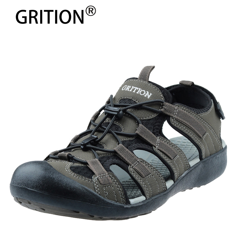GRITION Outdoor Sandals For Men Summer Beach Shoes Lightweight Quick-drying Men Sneakers Breathable Garden Sandalias De Hombre