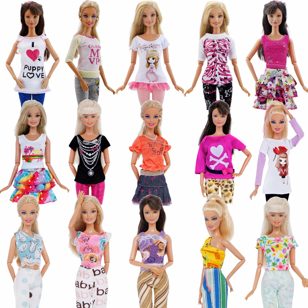 5 Pcs Handmade Outfits Casual Dating Wear Trousers Cute Blouse Mini Dress Sexy Tops Clothes For Barbie Doll Accessories Kid