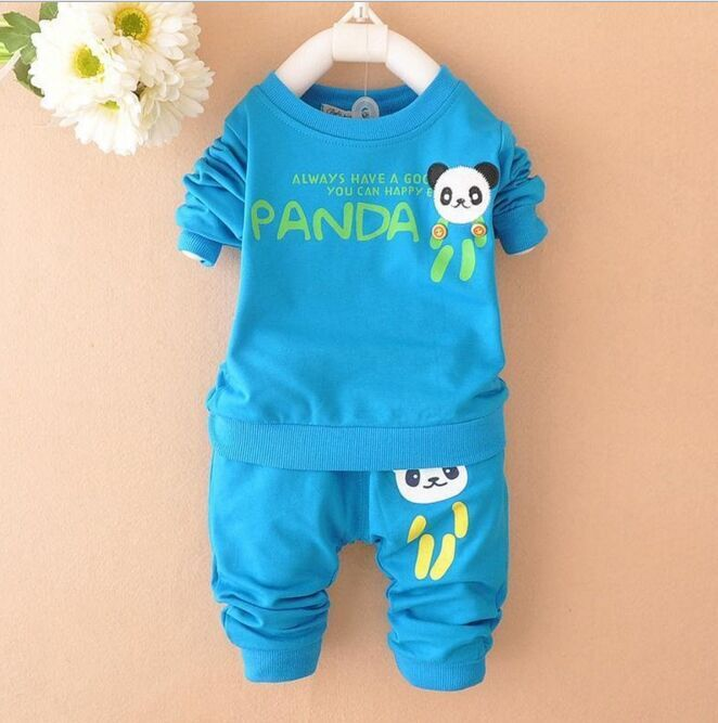 2017 new Boys clothing set kids sports suit children tracksuit girls T shirt pant baby sweatshirt panda character casual clothes