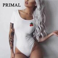 Women Bodysuit Short Sleeve Jumpsuit White Black Button Autumn Beach Cherry Body Femme Overalls Female Playsuit Club Bodysuits