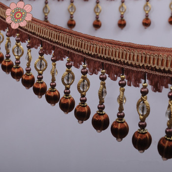15 meters/lot  Watermelon Ball Crystal Beads Lace Curtain Accessories, Pom Pom Tassel Fringe Lace Trim